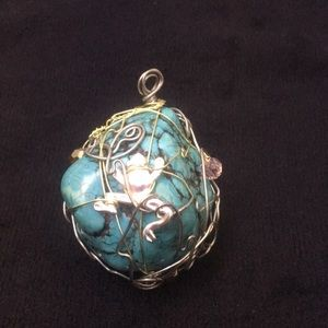 Jewelry - Wire wrapped Turquoise and Crystal Chunk Pendant